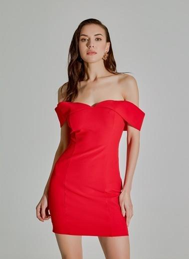 People By Fabrika Straplez Mini Abiye Elbise Kırmızı